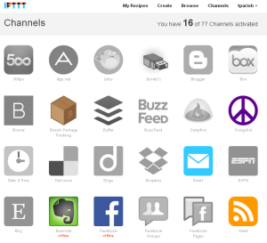 IFTTT Channels Screenshot